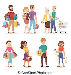 Shopping people vector set.