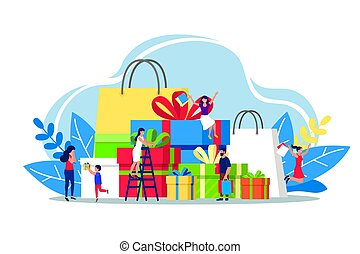 Shopping people with gifts and presents boxes vector illustration isolated on white.