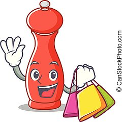 Shopping pepper mill character cartoon
