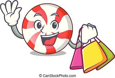 Shopping peppermint candy character cartoon