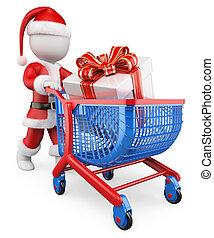 shopping, persone., claus, regali, santa, natale bianco, 3d