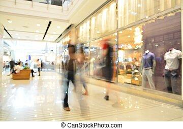 shopping, pessoas, defocus, borrão, departamento, store., ou