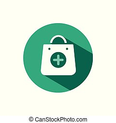 Shopping pharmacy bag icon with shadow on a green circle. Vector pharmacy illustration