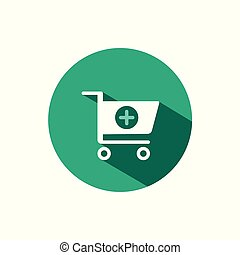 Shopping pharmacy cart icon with shadow on a green circle. Vector pharmacy illustration