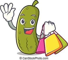 Shopping pickle character cartoon style