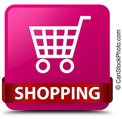 Shopping pink square button red ribbon in middle