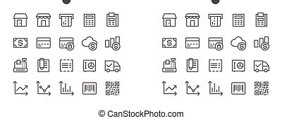 Shopping Pixel Perfect Well-crafted Vector Thin Line Icons 48x48 Ready for 24x24 Grid for Web Graphics and Apps with Editable Stroke. Simple Minimal Pictogram