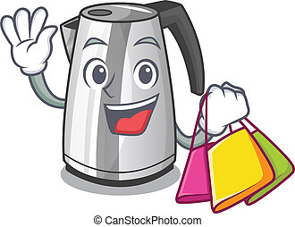 Shopping plastic electric kettle isolated on cartoon vector...