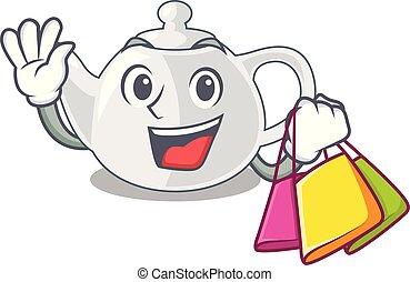 Shopping porcelain teapot ceramic isolate on mascot