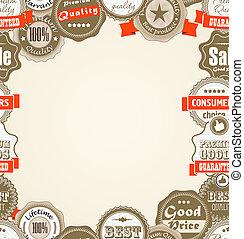 shopping, prêmio, qualidade, etiquetas