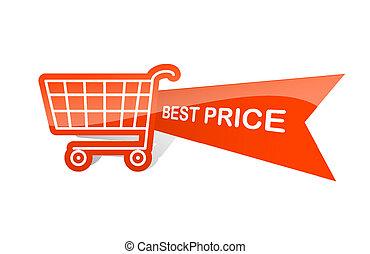 shopping, preço, venda, basket., desenho, adesivo, melhor