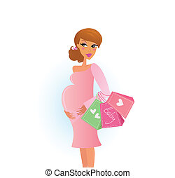 A stylish pregnant woman in pink shops for her new baby. Vector Illustration.