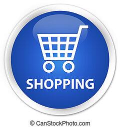 Shopping premium blue round button