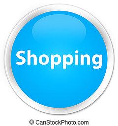 Shopping premium cyan blue round button