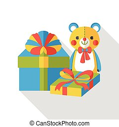 shopping present and teddy bear flat icon