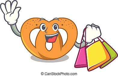 Shopping pretzel character cartoon style