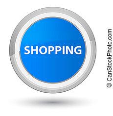 Shopping prime cyan blue round button