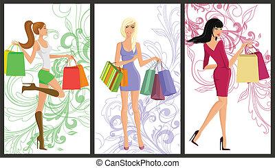 shopping, ragazza, bandiera