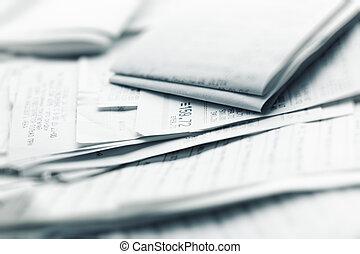Shopping receipts. Shallow dof effect.