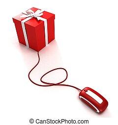 shopping, regalo, linea