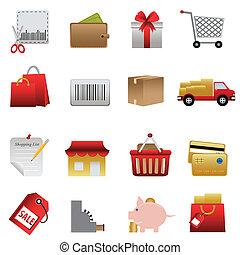 Shopping related icon set - Shopping symbols icon set on...