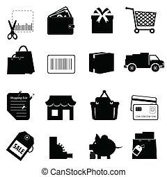 shopping, relativo, icona, set