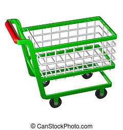 shopping, rendering., cart., 3d