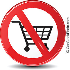 Shopping restriction, not allowed, vector