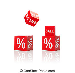 set of boxes with sale and percent sign