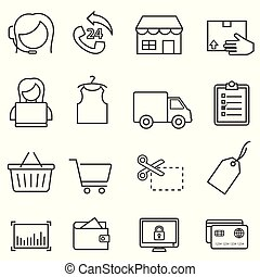 Shopping, retail, and online e-commerce line icon set