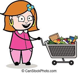 Shopping - Retro Cartoon Female Housewife Mom Vector Illustration