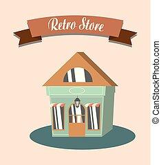 shopping, retro, loja
