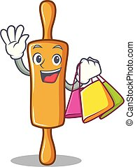 Shopping rolling pin character cartoon