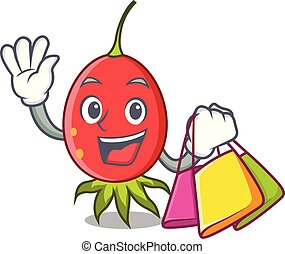 Shopping rosehip character cartoon style vector illustration