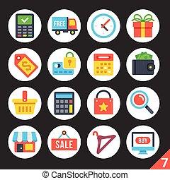 Shopping round flat icons set 7
