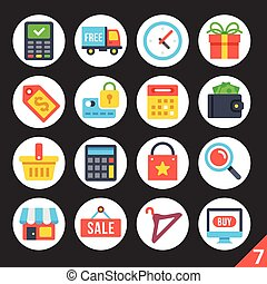 Shopping round flat icons set 7