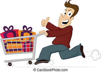 Shopping Rush - Excited happy man running with shopping cart...