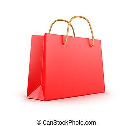 shopping, saco, vermelho, clássicas