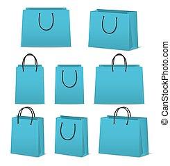 shopping, sacos papel, isolado, jogo, em branco, branca