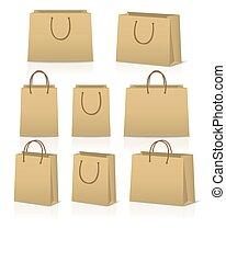 shopping, sacos papel, isolado, jogo, em branco, reflexão, branca