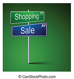 Shopping sale direction road sign. - .Vector direction road...