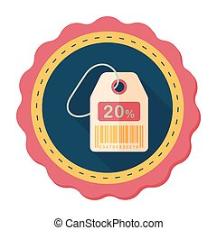 shopping sale price tag flat icon with long shadow, eps10