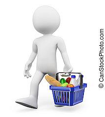 shopping, saudável, pessoas., alimento, branca, 3d