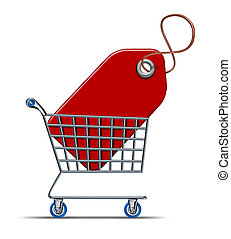 Shopping savings concept with a shopper cart and store basket with a red price tag inside representing consumers and consumerism economy of buying things on discount and using credit cards purchases.