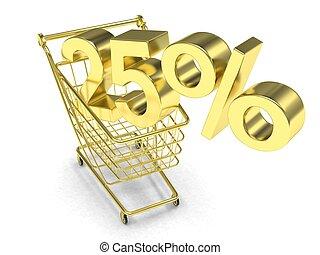 shopping, scontare, 25%, rendering., carrello, fondo., bianco, 3d