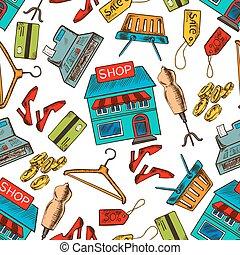 Shopping seamless pattern background