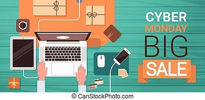 shopping, segunda-feira, grande, laptop, digitando, cartaz, venda, cyber, computador, online, mãos, ângulo, bandeira, vista