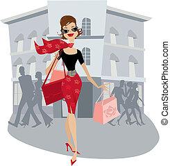 shopping, senhora