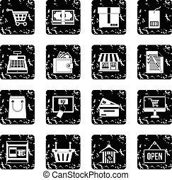 Shopping set icons, grunge style