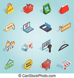 Shopping set icons, isometric 3d style